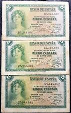 1935 Espana Spain 5  Pesetas Banknote F 3pcs (+FREE 1 B/note) #D3711
