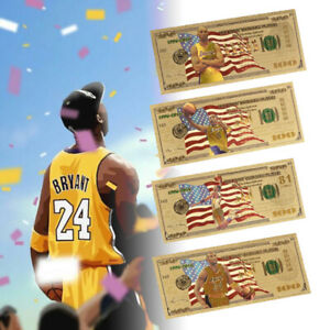 4pcs Kobe Gold Foil Banknotes Basketball Super Star Nice Gifts For Collection