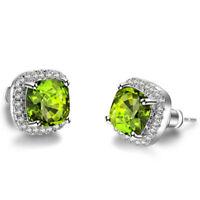 Birthday Jewelry Gift Square Olive Peridot Gemstone Silver Stud Hook Earrings