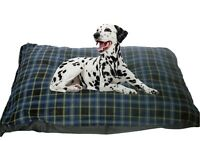 CosiPet® Extra Large Deluxe Waterproof Blown Fibre Cushion Dog Bed Blue Check