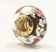 Genuine Pandora Flower Garden Murano Glass Charm 14K Gold Plated 791652