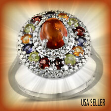 TGW 1.59 Cts. Baltic Amber Hebei Peridot Citrine Iolite Mozambique Garnet Ring