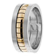 Modern Design Two Tone 8mm Handmade Unisex Wedding Band Ring 14K Gold