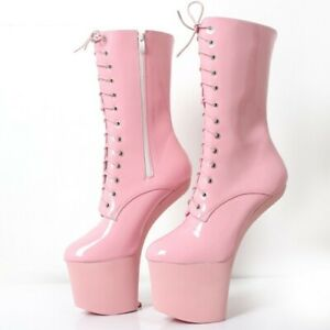 Large Size 36-46 Lady Ankle Ballet Boots Side Zip Heelless Wedge Heel Shoes Sexy