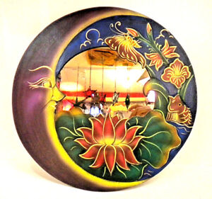 Beautiful Painted Mirror Round Wooden Lotus Moon Fish Flower Wall Decorative