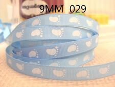 "Baby Footprint Blue Ribbon 3/8"" Wide 2m is only £0.99 NEW UK SELLER"