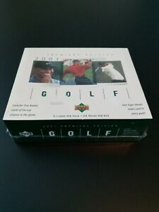 2001 UPPER DECK PGA GOLF FACTORY SEALED HOBBY BOX TIGER WOODS ROOKIE YEAR RC