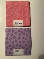 Lot Of 2 Pink Purple Floral Fat Fabric Quarters 18 X 21 100% Cotton