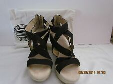 Beautiful DKNY Black Suede, Ankle Strap Wedge Sz 7.5 M, Leather heel w/zip back