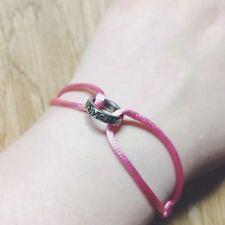 Handmade Simple Pink Satin & Silver Love Ring Linked Bracelet Adjustable Gift