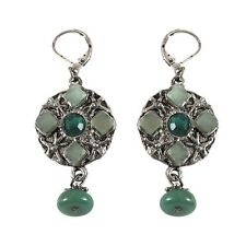 Green Crystals Beads Tribal Ethnic Silver Round Dangle Drop Pierced Earrings