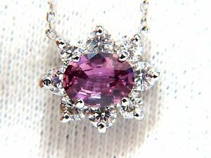2.06ct natural purple pink sapphire cluster diamond necklace 14kt+
