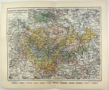 Original 1907 Map: The Saxon Duchies & the Principalities of Schwarzburg & Reuss
