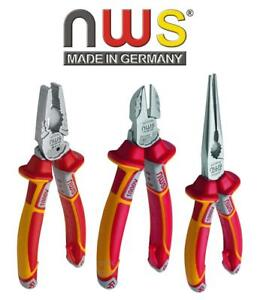 NWS 3 Pce VDE 1000v Wire Side Cutter, Combination & Long Nose Pliers Set,N782-3K
