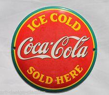 Coca Cola - ICE COLD - Ø 12cm -Emailschild - Schild - Türschild - Emaille Schild