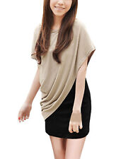 Scoop Neck Short Sleeve Asymmetric Dresses for Women