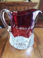 1905  Ruby Flash Glass Creamer Orange County Fair