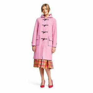 NWT! Isaac Mizrahi for Target Womens Hooded Duffle Wool Long Coat Pink S