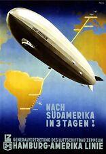 A3 Arte Cartel De Viaje Hamburgo América línea Graf Zeppelin
