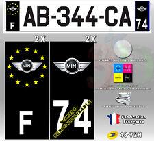 """Stickers Plaque D'immatriculation Fond Noir Logo """"Mini"""" 4 pièces 100x45 mm"""