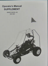 Manco Model 286-182E Go Kart Parts List Operators Manual Cart