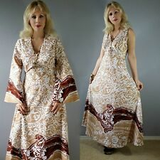 Vtg 70s Abstract Waves ART NOUVEAU Hippie Full Sweep Maxi Dress Bell slv Cape