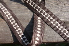 Woven Fabric Tape Trim Diamond Stripe Brown, 1 inch by the 1 yard