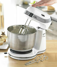 EGL White Modern Compact Stand Mixer with Stainless Steel Mixing Bowl 6 Speeds