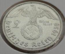 Germany 2 REICHSMARK SILVER MARK HINDENBURG SWASTIKA 1939 G Third Reich
