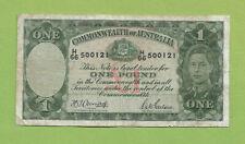 1942  AUSTRALIAN WWII  ARMITAGE / McFARLANE ONE POUND  BANKNOTE  #H66 500121