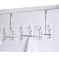 Home Basics Chrome 6 Hook Over The Door Towel Coat Rack