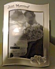 Malden Just Married Mr & Mrs. Silver Tone Desk Top Wall Hanging Photo Frame