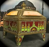 """ALMOST 4"""" METAL ENAMEL & STONE JEWELRY OR TRINKET BOX MARKED PALME D'OR MOROCCO"""