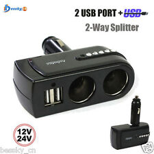 12V/24V 2 USB Charger Supply+2 Socket Car Cigarette Lighter Extender Splitter
