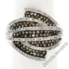 Solid 14K White Gold 1.85ctw Champagne & White Diamond Wide Banded Domed Ring