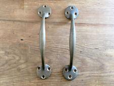 2x OLD BRONZE DOOR PULL HANDLES, 71/4 inch long