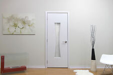 "30"" X 80"" Modern Interior Wood Door With Frame Frosted Glass No Pre Hung White"