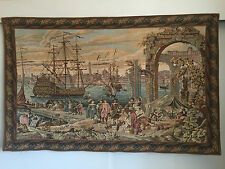 "Renaissance Verdure  French Tapestry Wall Hanging H 47"" x 30"" Large"