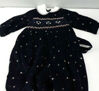 Sarah Louise England Romper 12 Mos Smocked Embroidered Corduroy Dk Blue Baby