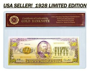 24K .999 GOLD 1928 $50 GOLD CERTIFICATE BANKNOTE WITH COA (CERT OF AUTHENTICITY)