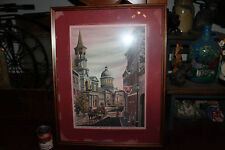 Interesting Print French Montreal Street-La Rue Saint-Paul L' aglise-Bon Secours