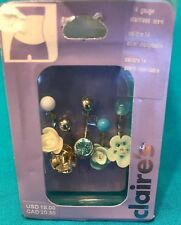 New Set Five Claire's 14 Gauge Carved Roses Flower Blue Rhinestone Belly Rings