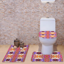 3pcs/set Toilet Covers Bathroom Non-slip Carpet Contour Mat Pedestal Rug Bathmat