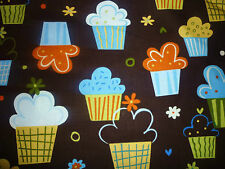 CLEARANCE FQ FUNKY BRIGHT CONFECTIONS CUPCAKE FABRIC