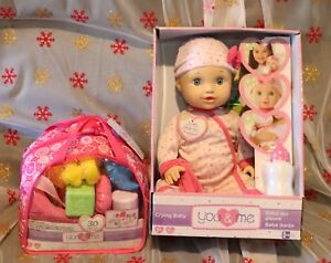 You And Me Baby doll 16 In. make sounds and cries plus  extra baby toys