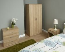 NEW Contemporary Oak Finish 3 Piece Bedroom Set Nightstand Wardrobe & Chest