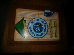 VINTAGE 1974 JUDY WOODEN PUZZLE TABLE SETTING 10 PIECES 066008
