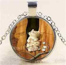 Cute Three Cat In Tree Cabochon Glass Tibet Silver Chain Pendant  Necklace