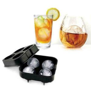 3er Pack Eiswürfelform aus Lebensmittel Silikon I XXL Runde Eiswürfel Eiskugeln