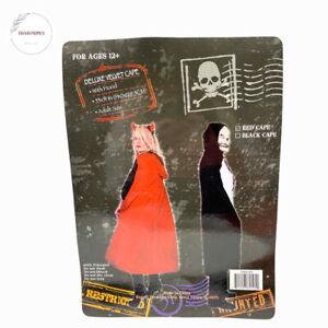 "Adult Deluxe Velvet Cape With Hood Red Halloween Costume 55"" x 51"""